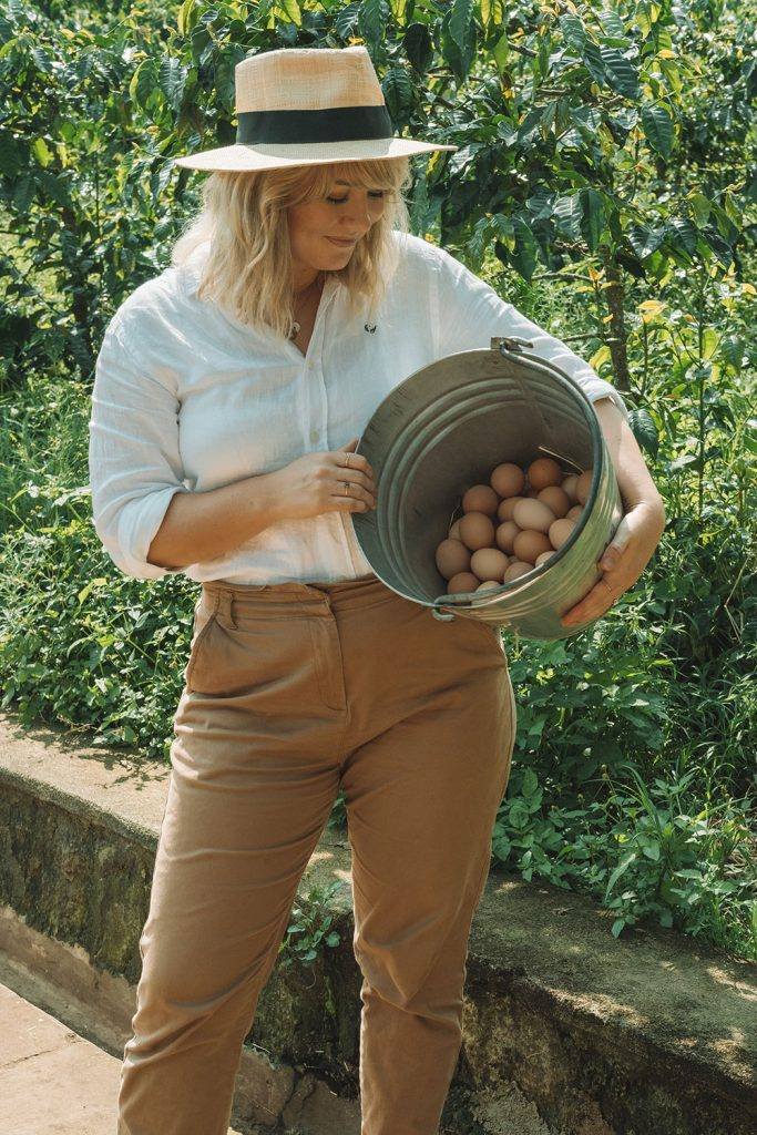 Woman earns her keep by collecting farm fresh eggs