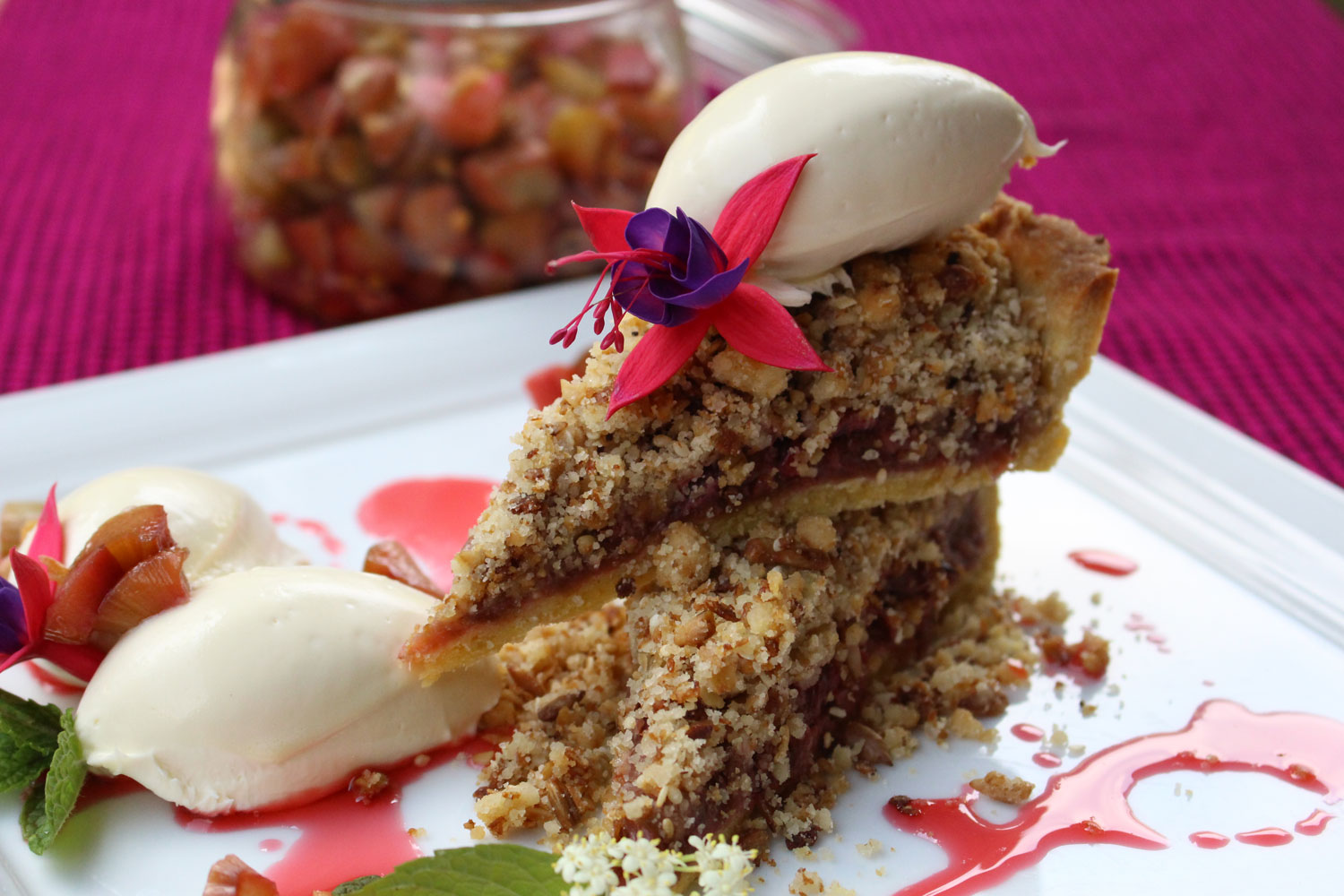 This Rhubarb Crumble pie is fast becoming a firm favourite at Gibb's Farm. It is a great dish to complete a dinner party and with the granola topping, we think that it is perfect for breakfast as well!